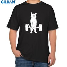 Knitted Funny Men T Shirt Round Collar Powerlifting Cat Deadlift Power Lifting T-Shirt For Men Summer T Shirt Letters(China)