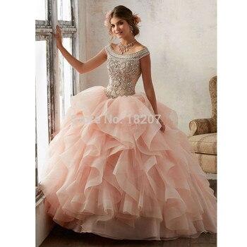 d0d3ed61a Blush Puffy barato vestidos de quinceañera 2019 vestido de tul volantes con  reborde cristales dulce 16 vestidos