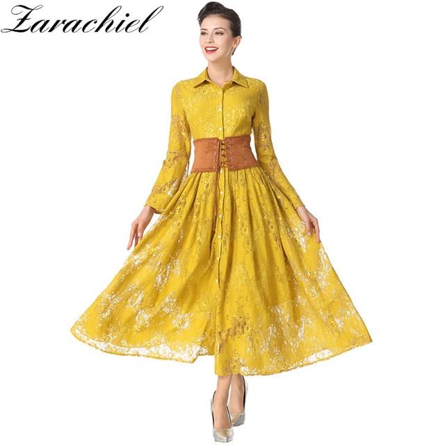 280106db41a05 Zarachiel Women Long Dress 2019 Spring Vintage Yellow Crochet Lace Dress  Fashion Single-Breasted Lace