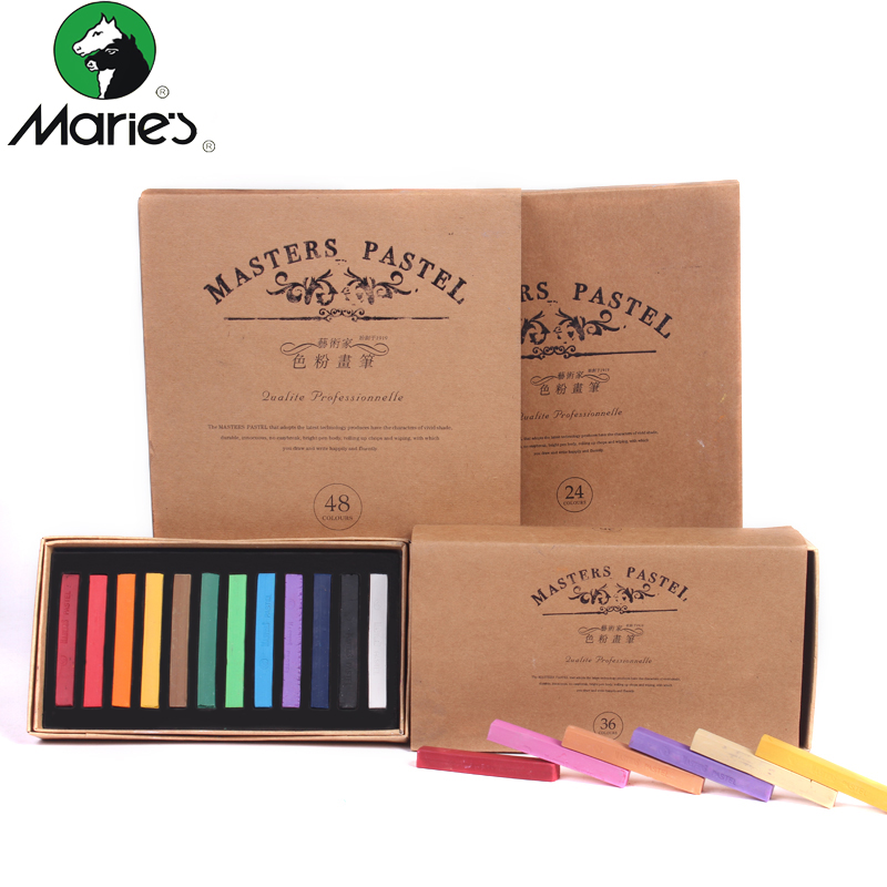 Marie's Painting Crayons Soft Dry Pastel 12/24/36/48 Colors/Set Art Drawing Set Chalk Color Crayon Brush Stationery For Students