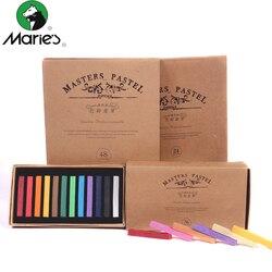 Pastel seco macio 12/24/36/48 cores/conjunto arte desenho conjunto giz cor crayon escova papelaria para estudantes