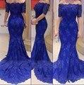 2016 the royal blue mermaid encaje vestido de partido de las mujeres túnicas dubai estilo Musulmán vestido de fiesta 2802
