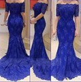 2016 the royal blue mermaid lace women party dress robes dubai Muslim style party dress 2802