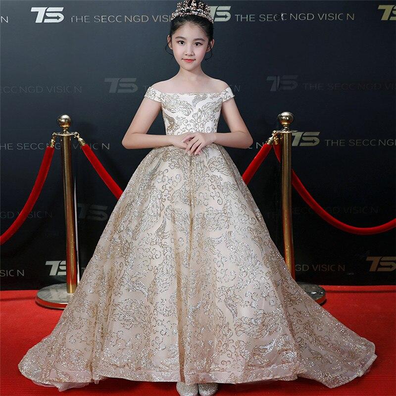 criancas modelo show lindo shoulderless lantejoulas evening partido long tail vestido de baile vestido de meninas