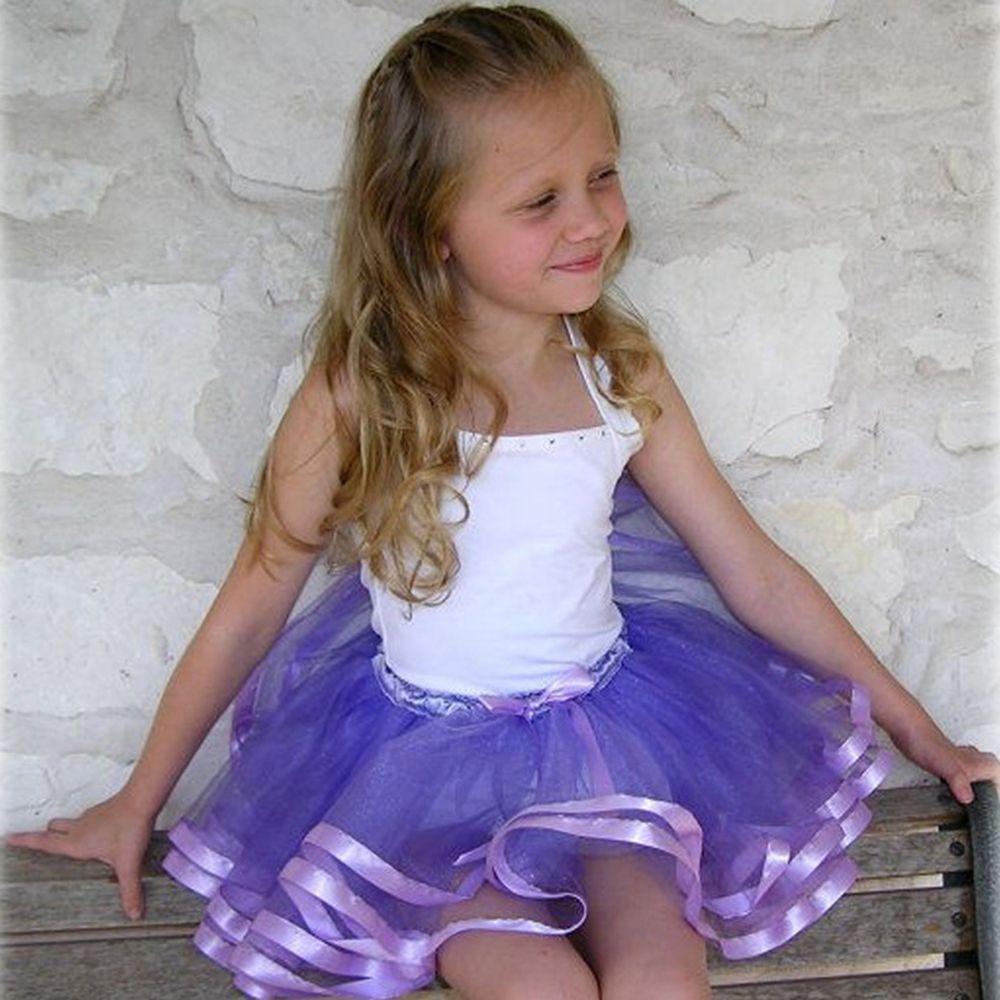 Chica de moda de verano casual gasa tutú Rosa cinta falda niña ...