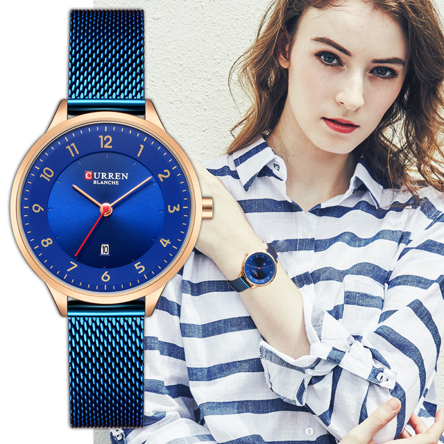 CURREN Watch Women Fashion Blue Quartz Women's Bracelet Watches Luxury Casual Wa
