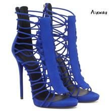 Aiyoway 2019 Women Shoes Peep Toe High Heels Sandals Cover Heel Zipper Spring Summer Ladies Party Casual Strappy Blue Gold