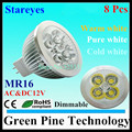 8 pcs Dimmable MR16 4W 3W AC&DC12V LED Spotlight lamp Downlight Bulb LED lamp LED Droplight Lighting LED light spot light
