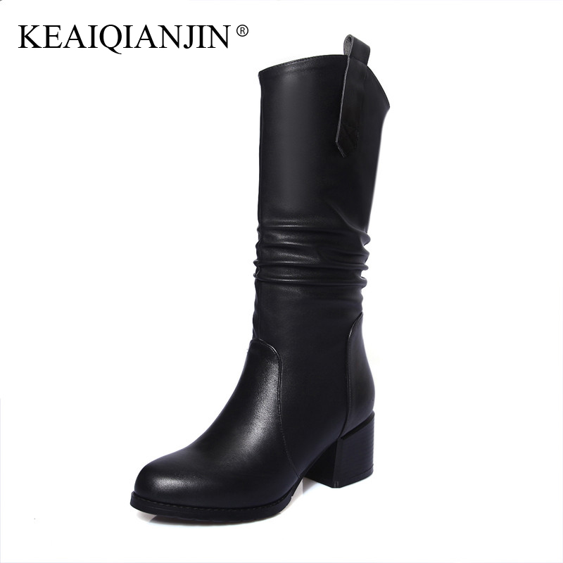 KEAIQIANJIN Woman Mid Calf Boots Black Plus Size 33 - 44 Autumn Winter Shoe Plush Botas De Mujer Genuine Leather Knee High Boots double buckle cross straps mid calf boots