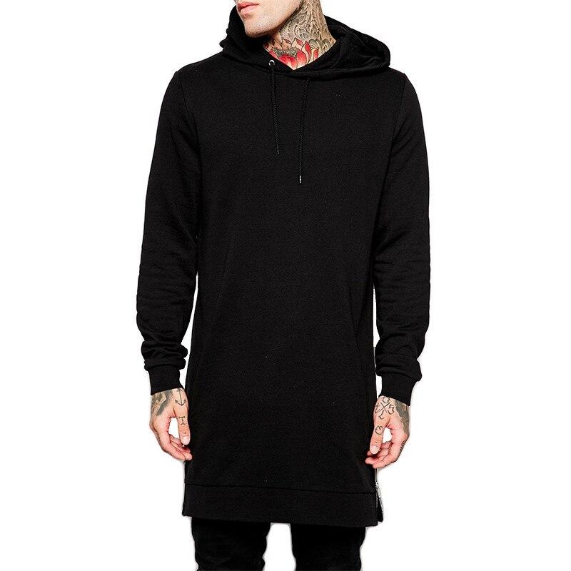 Fashion Mens Oversized Long Hoodies Casual Hip Hop Loose Hooded Sweatshirts Fleece Warm Split Sweat Shirt Pocket Male Tracksuit