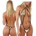 Mulheres Sexy Vestido De Couro Lingerie Babydoll Sleepwear G-corda Cueca Ouro