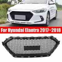 Amortecedor dianteiro grade de malha abs plástico médio grill capa para hyundai elantra 2017 2018 estilo do carro preto fosco corrida grill