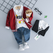 Odzież dla niemowląt jesienno-zimowa odzież dla niemowląt chłopcy Cardigan płaszcz + t-shirt + spodnie 3 szt Strój garnitur dla zestawy dla niemowląt noworodka ubrania dla dzieci tanie tanio COTTON Poliester Na co dzień Regularne Skręcić w dół kołnierz Boys baby Pasuje prawda na wymiar weź swój normalny rozmiar