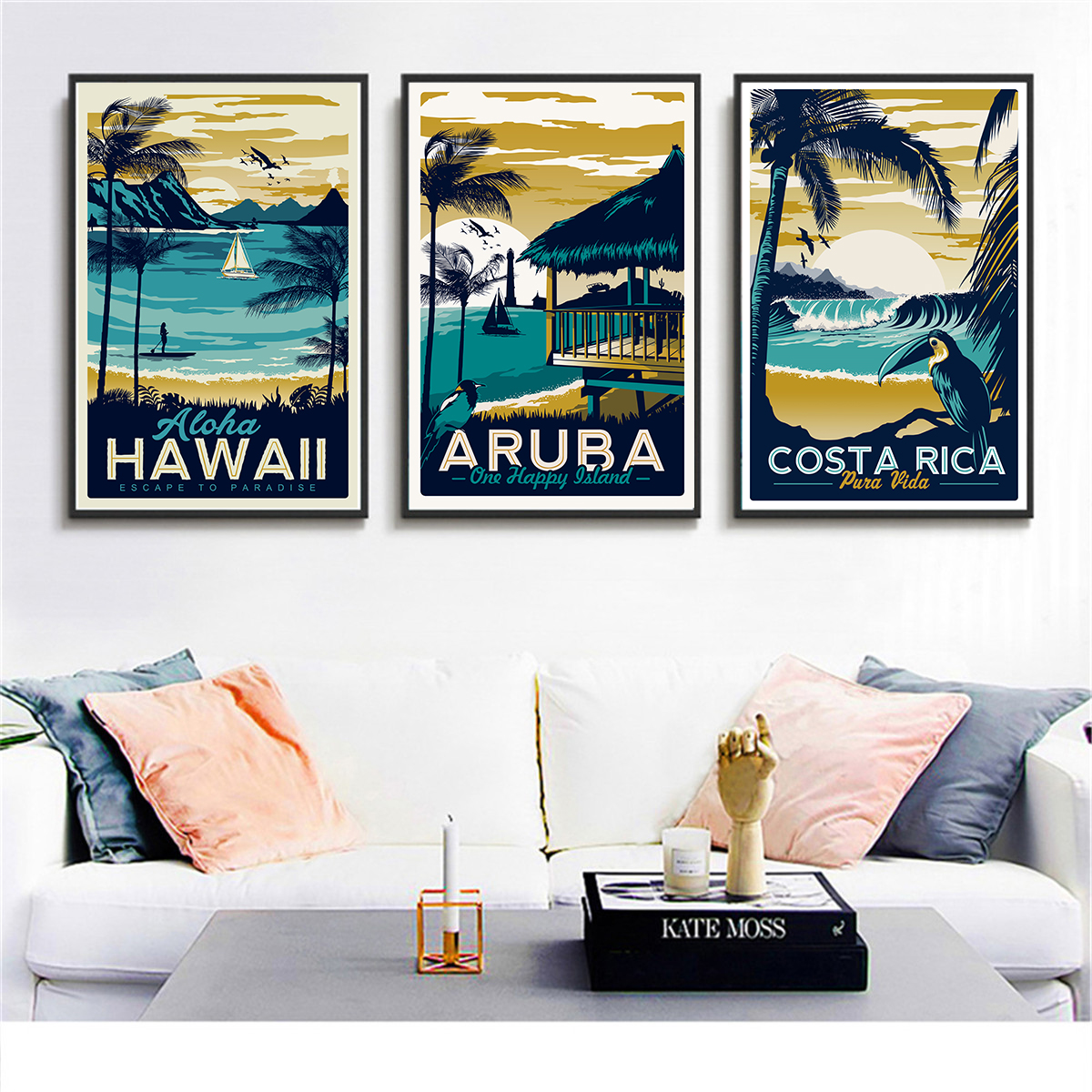 Retro painting Aruba seascape hawaii painting canvas prints wall art craft Poster Nordic About horse decoration for bar cafe