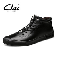 CLAX Winter Boots Men Casual Leather Shoes Plush Fur Soft Genunine Leather Male Ankle Boot Warm
