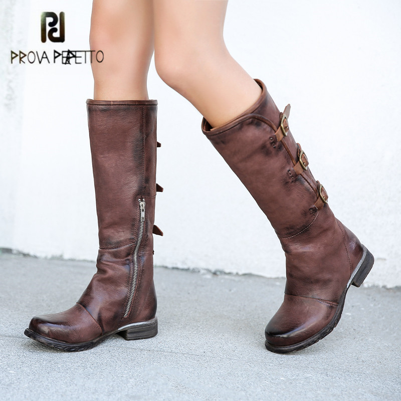 Prova Perfetto Fashion Genuine Leather Knee High Boots Women Square Toe High Boots Buckle Straps Flat Knight Boot Ladies Shoes худи print bar bob marley