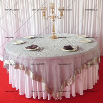 10pcs Flocking Organza Overlay Table Cloth For Wedding party hotel
