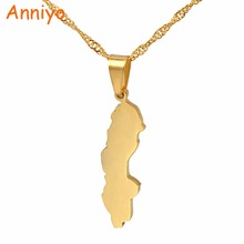 Anniyo Konungariket Sverige Map Pendant & Necklaces for Women Sweden Country Maps Jewelry Swedish Gifts #021821(China)