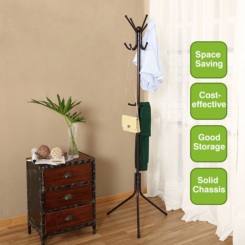 Metal Coat Rack Free Standing Display Stand Hall Christmas Gift Portable Clothes Hat Rack Fashionable Clothes Tree with Bronze C inness sturdy coat rack solid rubber wood hall tree with tripod base suitable for aduit bule