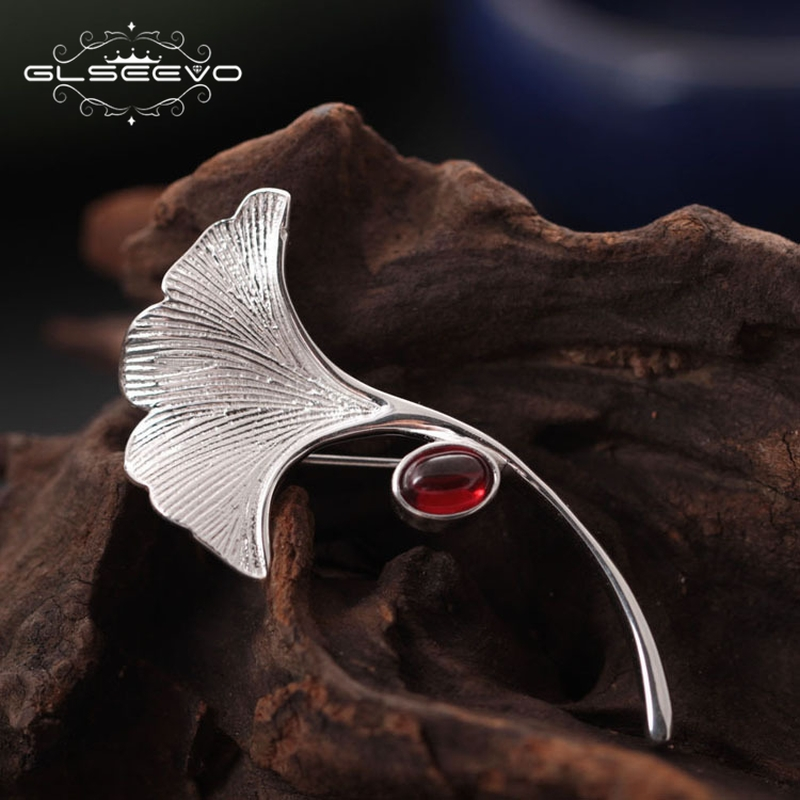 GLSEEVO Ginkgo Biloba Leaf Brooches For Women Wife 925 Sterling Silver Natural Garnet Luxury Brooch Handmade Fine Jewelry GO0005 поддержка нервной системы now foods ginkgo biloba 60mg 240 капс