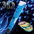 Diy creativo de la pluma 1.75mm abs/pla smart 3d pluma impresión 3d Pen + Diseño Pintura Filamento + Regalo Adaptador Para Los Niños Niño dibujo