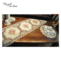Retro Handmade Crochet Table Runner Ribbon Embroidered Flower Cotton Hollowed out Lace American Table Flag Tablecloth 40*175cm
