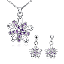 hot deal buy garilina latest design silver purple cz choker pendant earrings fashion jewelry sets for women s2023