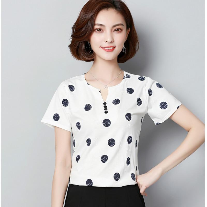 f51fdfe8f2322 Mikialong 2018 Korean Fashion V Neck Tshirts Cotton Women Short Sleeve Polka  Dot Summer Tops Plus Size T Shirt Camisetas Mujer