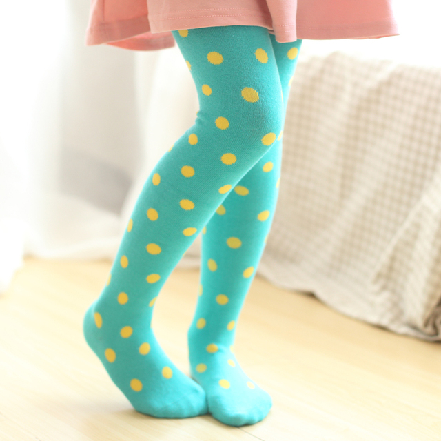 a890b64f1ac 2015 Korea style colorful dot children girl stocking thicken kid dancing tights  wholesale good elastic quality popular Christmas