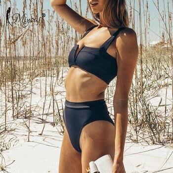 Miyouj High Waist Bikini Push Up Deep V Neck Swimsuit 2019 Solid Swimwear Black Bathing Suit Sexy Halter Biquini High Cut Bikini