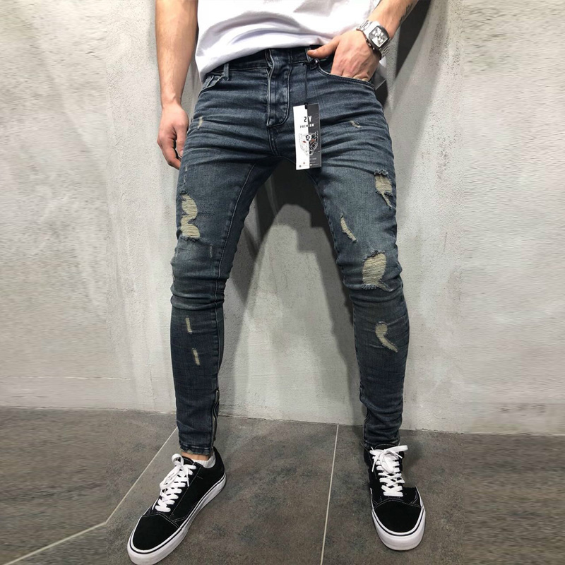 Jeans   Slim Spring Long Pencil Pants Ripped Hole 2019 Men's Fashion Thin Skinny   Jeans   for Men Hiphop Trousers Clothes Clothing