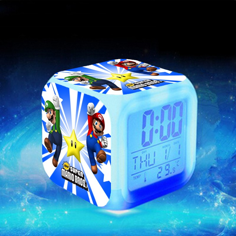 Супер Марио <font><b>LED</b></font> Будильник Reloj Despertador Луиджи Марио часы электронные настольные часы клок touch Освещение до Часы Saat