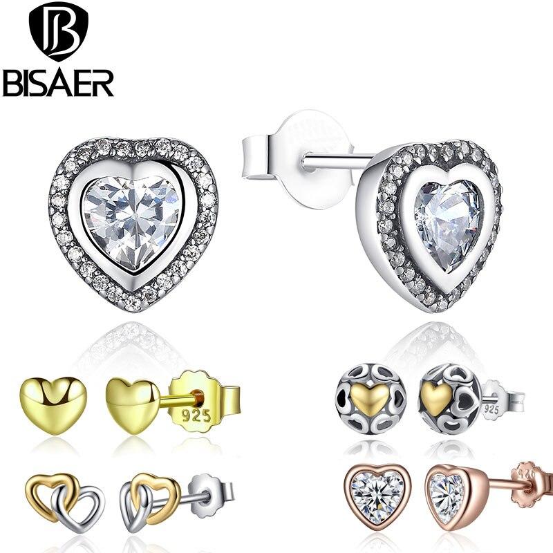 87210ec31 Fashion 11 Styles 925 Sterling Silver Heart Shape Crystals Small Earring  Silver Stud Earrings for Women