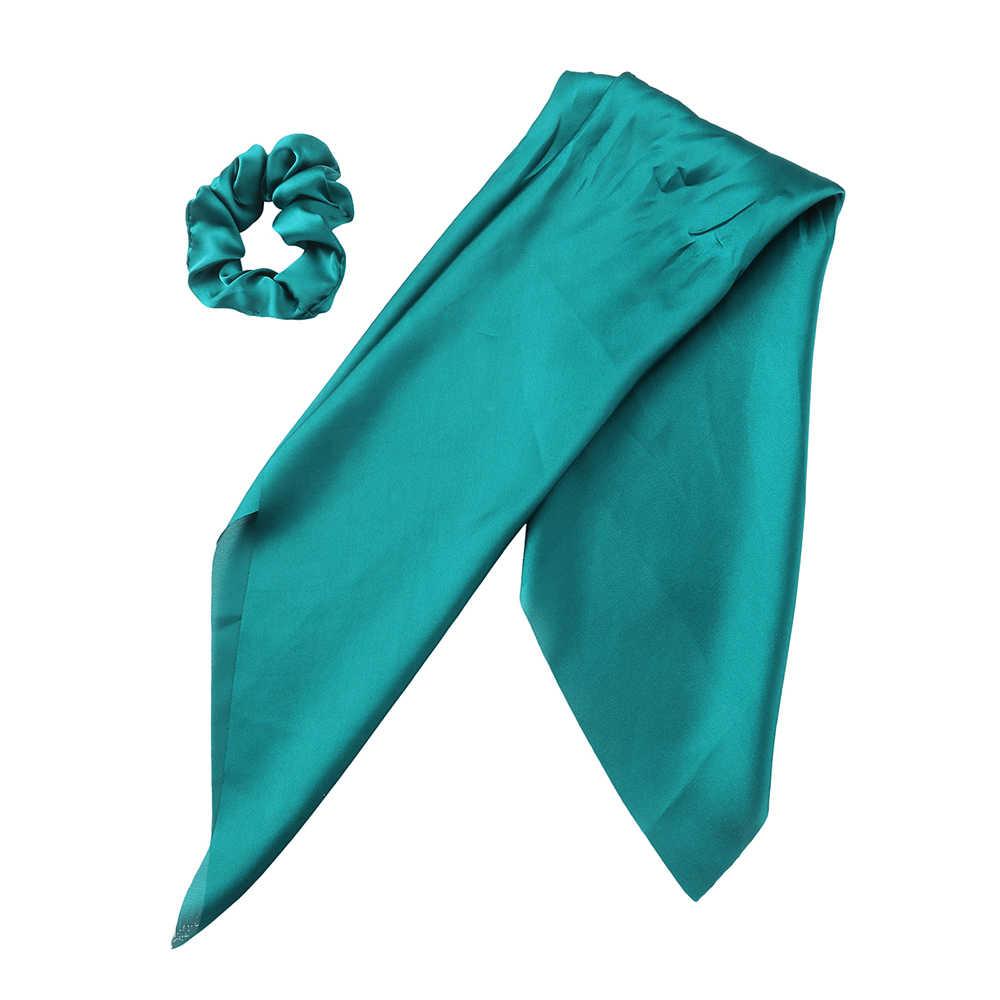 LEVAO ดอกไม้พิมพ์ Scrunchie ผมผู้หญิงผ้าพันคอ Elastic Bohemian Hairband โบว์ผมเชือกผม TIES อุปกรณ์เสริม