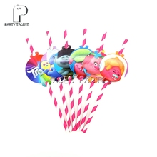 Party supplies 12pcs Trolls theme straws party decoration biodegradable paper straw tube eco friendly(China)
