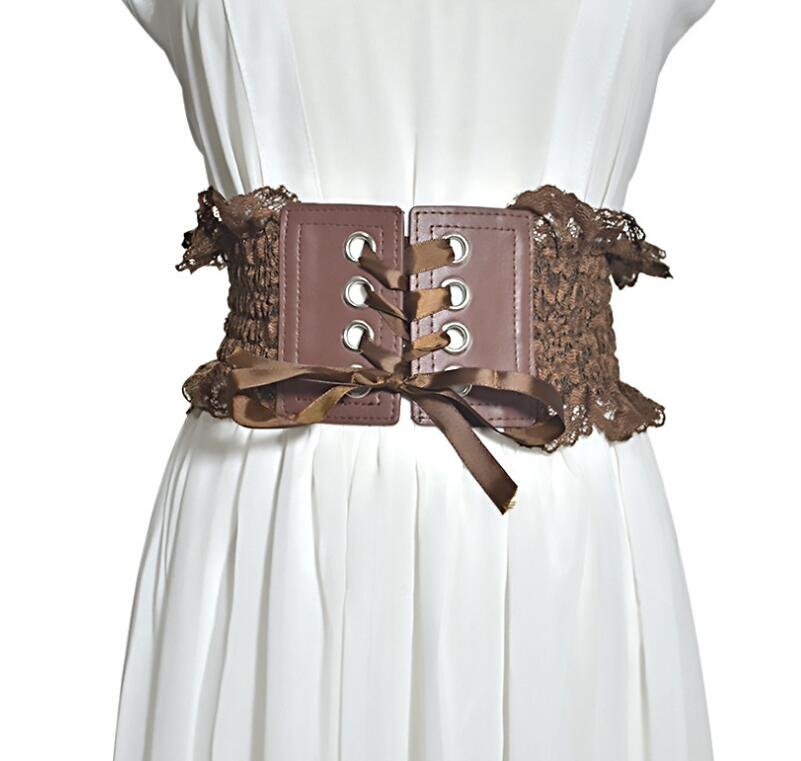 Women's Runway Fashion Elastic Lace Cummerbunds Female Dress Corsets Waistband Belts Decoration Wide Belt R1387