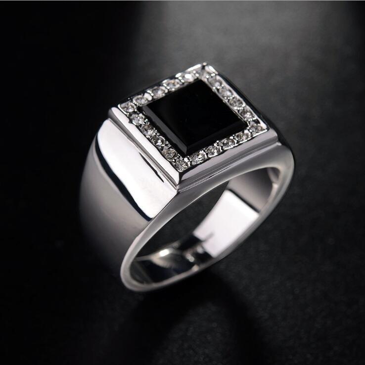 f0cd08d42 جودة عالية الذهب الأبيض اللون الأسود أكريليك الأعلى الدرجة الراين خواتم  الرجال الأزياء الأنيقة حزب مجوهرات الزفاف