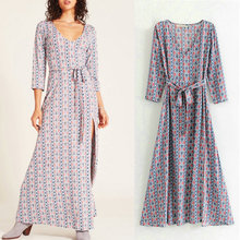 spring summer 2019 new dress for women long sleeve v neck sashes A line print long ladies dresses vintage ankle-length vestidos купить недорого в Москве