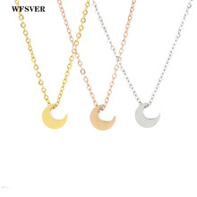 WFSVER 45cm stainless steel chain necklace gold/silver/rose gold color moon pendant necklace for women fashion jewelry gift недорого