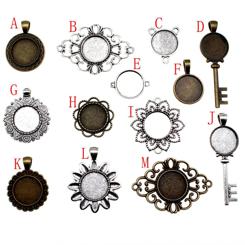 10 Buah 18 Mm Bulat Kaca Cabochon Dasar Pengaturan Liontin Tray untuk Perhiasan DIY Membuat