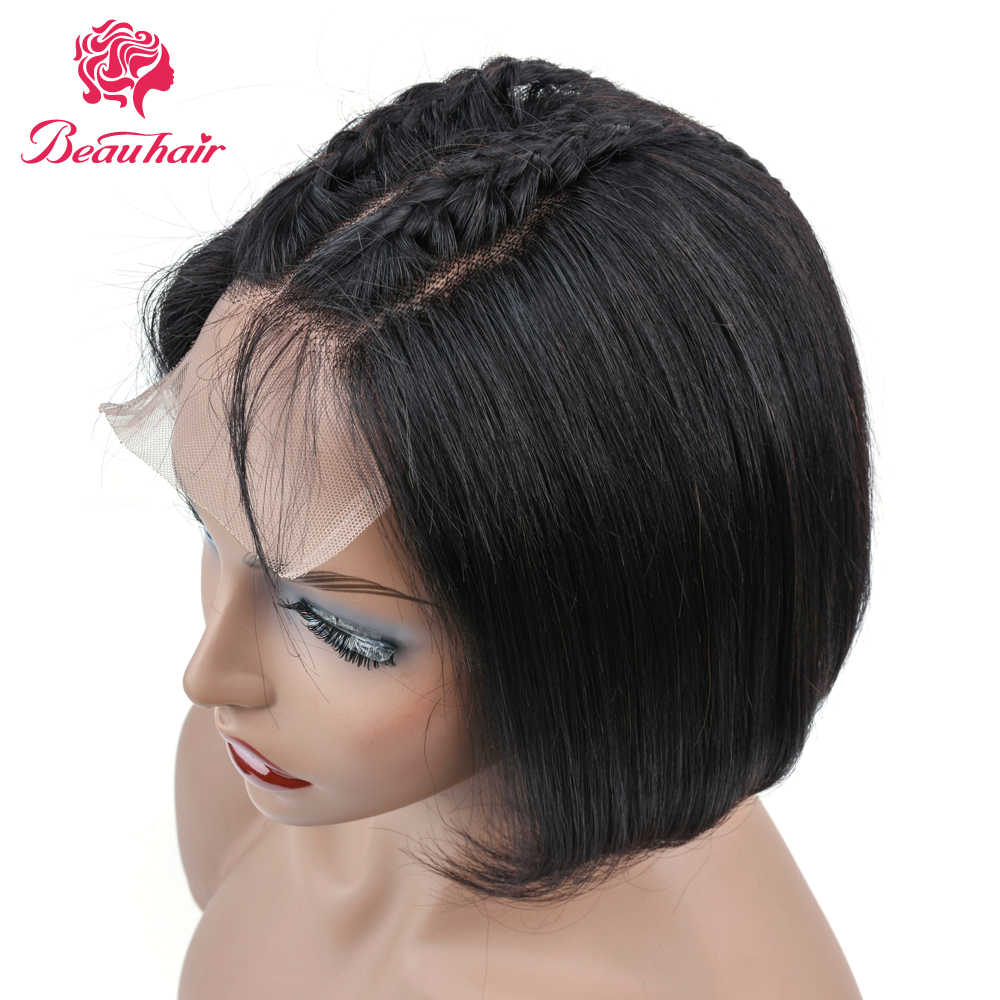 BeauHair Bob Wigs Malaysia  Straight Lace Closure Human Hair Wigs 4*4 Lace Closure Wig Non-Remy Bleached Knots With Baby Hair