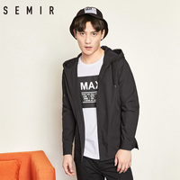SEMIR Hooded Coat For Man Long Sleeve Cotton Loose Overcoat For Spring Mens Letter Print Street