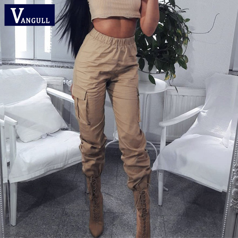Vangull High Waist Pants Women Side Big Pocket Long Pants 2019 New Spring Fashion Female Loose Cargo Pant Casual Sweatpants