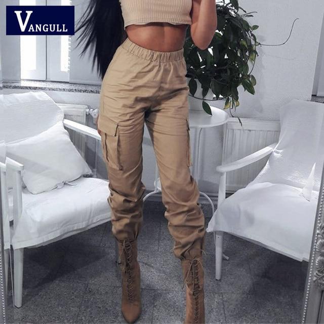 Vangull High Waist Pants Women Side Big Pocket Long Pants 2019 New Spring Fashion Female Loose Cargo Pant Casual Sweatpants