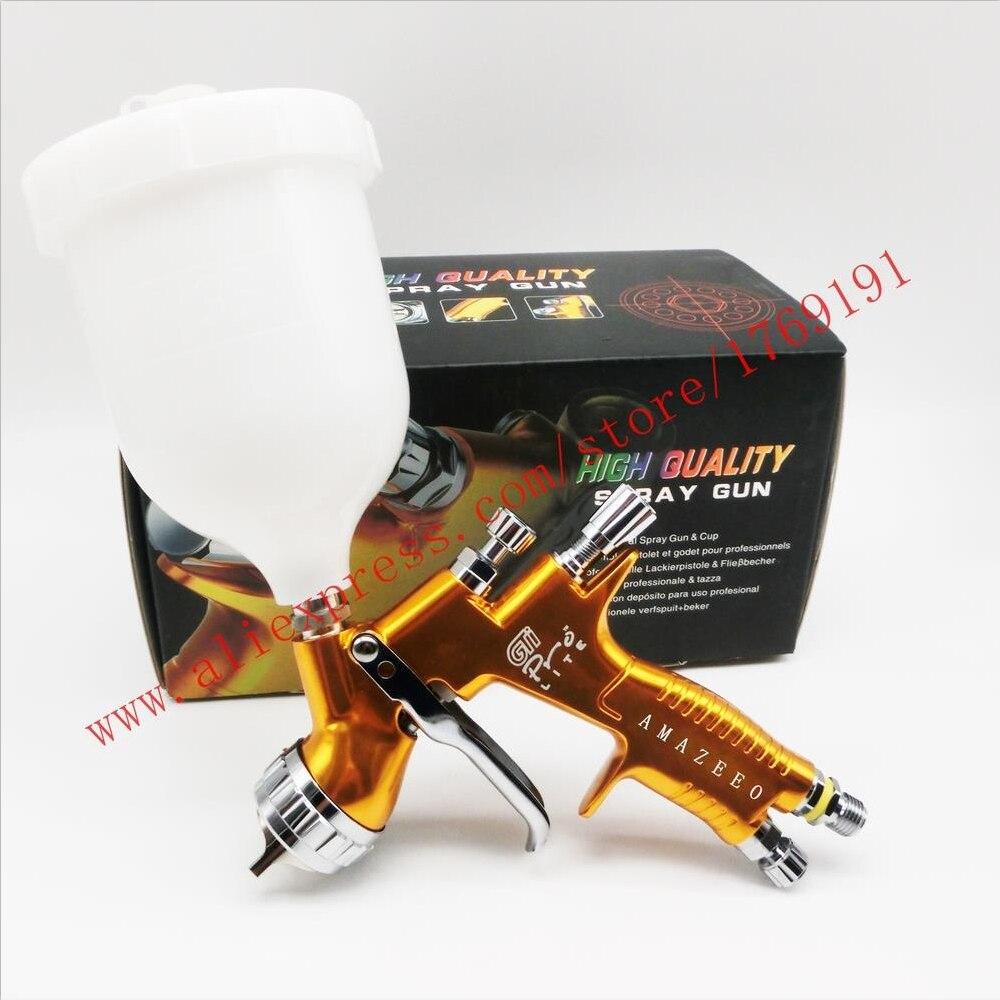 High quality professional Gti pro lite golden painting gun TE20 / T110 1.3mm nozzle spray gun paint gun waterbased air spray gun-in Spray Guns from Tools on