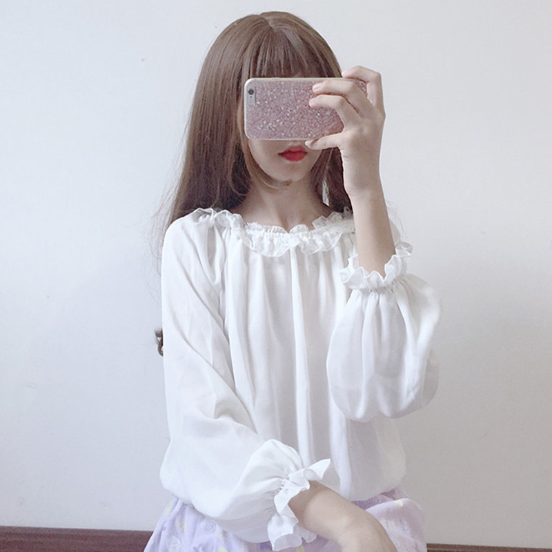 2018 New Japanese Lolita basic models feminine   blouse   top loose wild lace lantern sleeves long sleeve chiffon   shirt   women