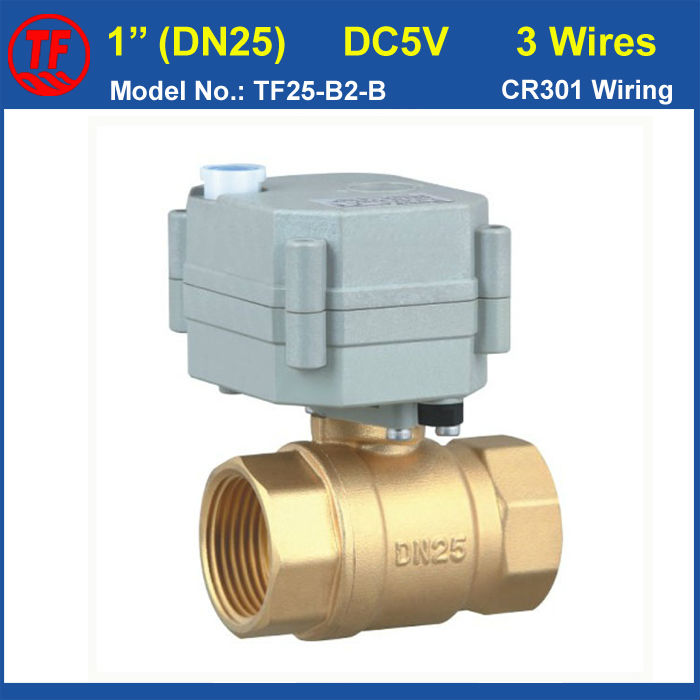 DC5V 3 Wires Brass 1 Electric Actuated Ball Valve Metal Gear DN25 Motorized Ball Valve With Manual Override CE/IP67 shipping free dc5v 1 stainless steel electric ball valve dn25 electric motorized ball valve 2 wires cr01 wiring