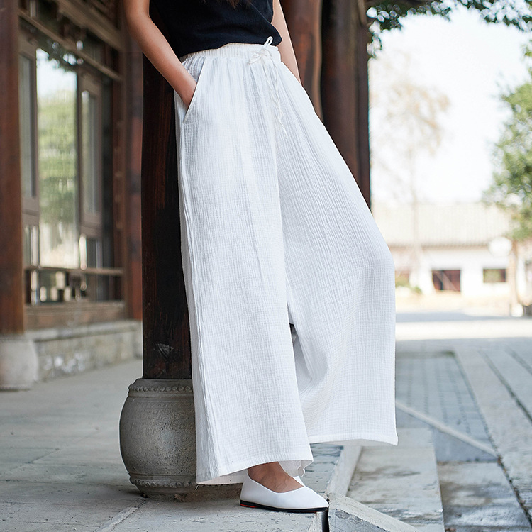 Spring and Summer 2019 new trousers Original Cotton and linen Women's Clothing casual   wide     leg     pants   Pantalones