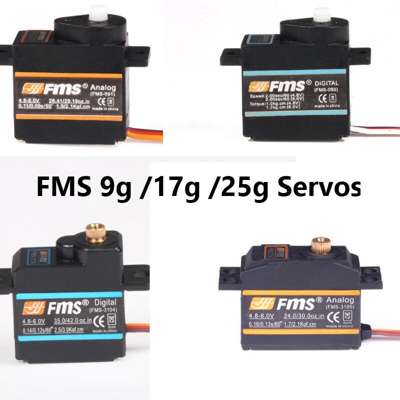 FMS Servo 9g plastique analogique/métal numérique/lent 17g 25g métal numérique RC Avion passe-temps modèle Avion Drone pièces de rechange