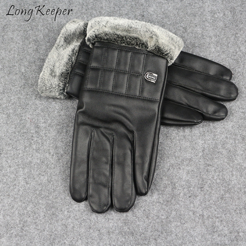 Long Keeper Leather Gloves Rabbit Fur Mittens Men Thick Touch Screen Full Finger Soft Driving Warm Autumn Winter Waterproof